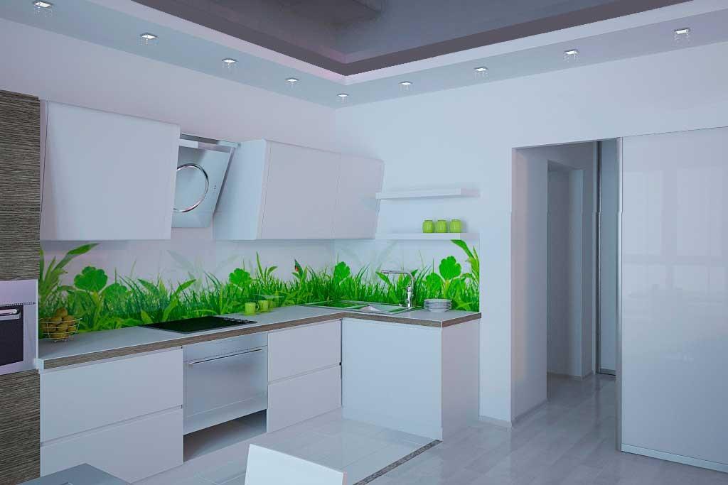 Фартук с травой для белой кухни